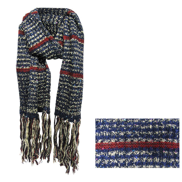 Warm winter-blue and red scarf