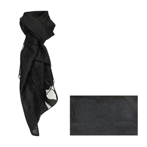 Rose black sheer scarf