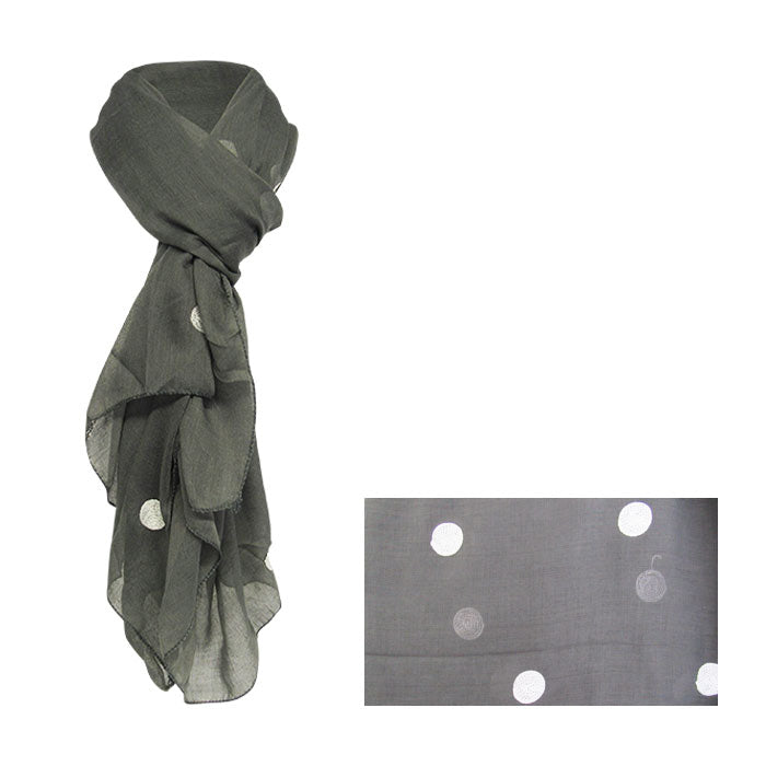 Dots on pewter scarf