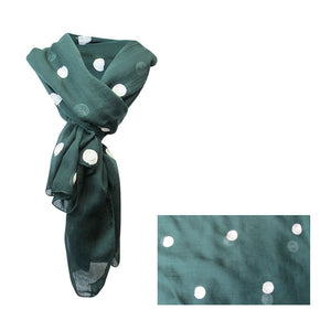 Dots on green scarf