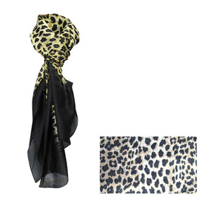 Leopard on black scarf