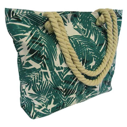 Rope tote bag green fern
