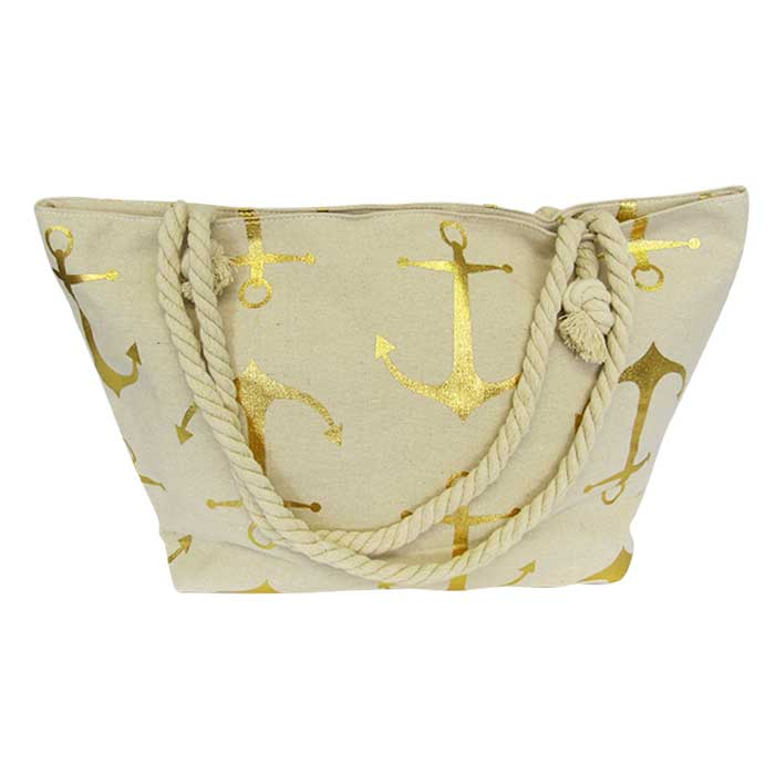 Rope tote large bag gold anchors