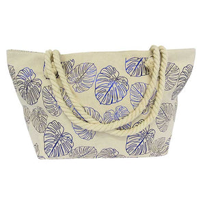 Rope tote large bag blue leaves