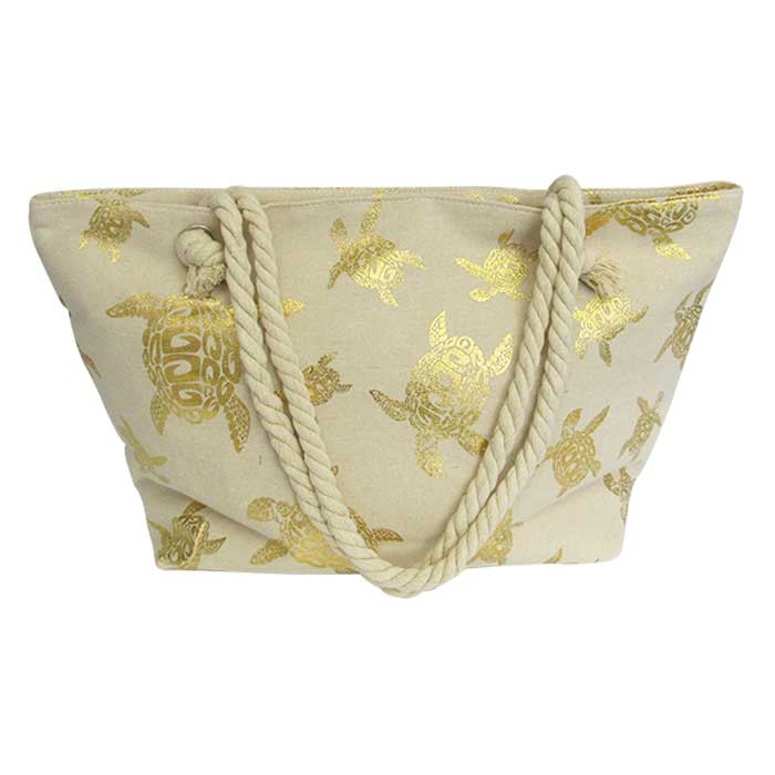 Rope tote large bag gold turtle