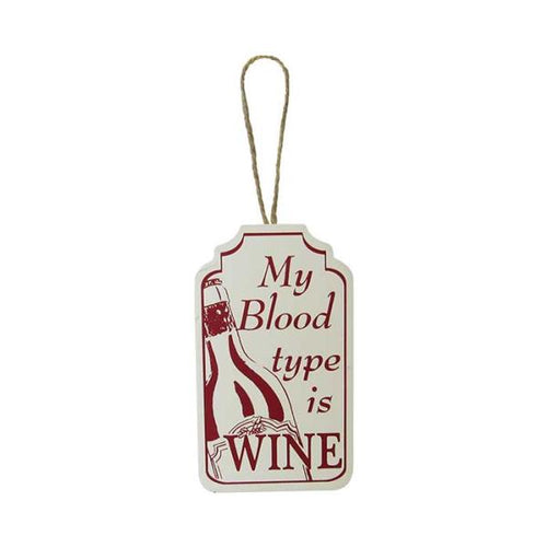 My blood type is wine word art tag