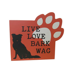 Pet shelf sign bark wag