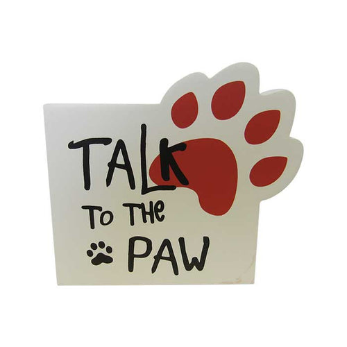Pet shelf sign talk to paw