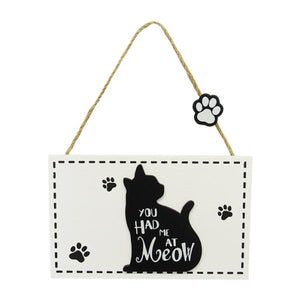 Cat hanger sign At Meow word art sign
