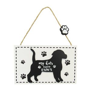 Dog hanger sign Kids Paws word art sign