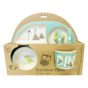 "Bamboo plate set for children ""dinosaur"""