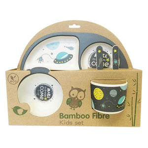 "Bamboo plate set for children ""space"""