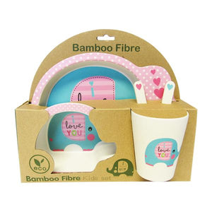 "Bamboo shape plate set for children ""elephant"""