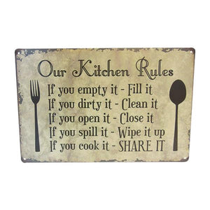 "Art tin sign ""Kitchen Rules"""