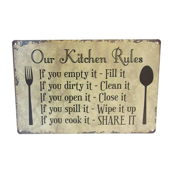 Art tin sign kitchen rules