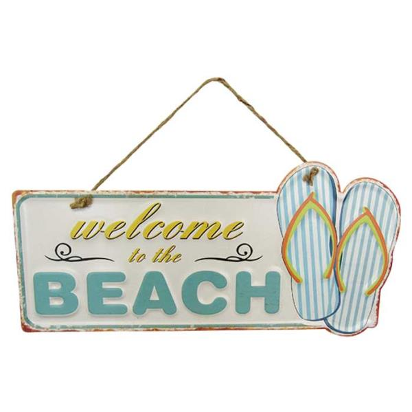 Art tin sign welcome to the beach