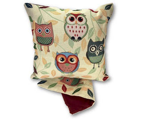 Owls and leaves cushion cover
