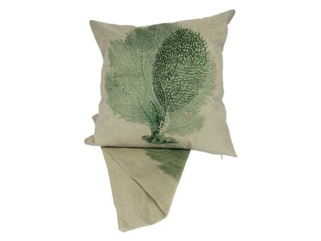 Printed coral green cushion cover