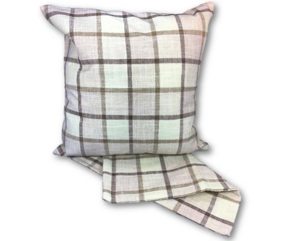 Linen squares cream cushion cover