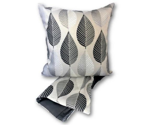 Geometric silver leaves cushion cover