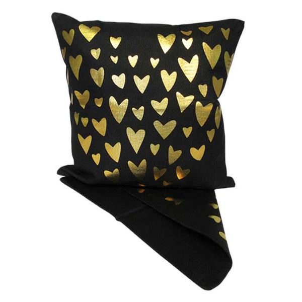 Gold hearts cushion cover