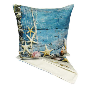 Beach still life cushion cover