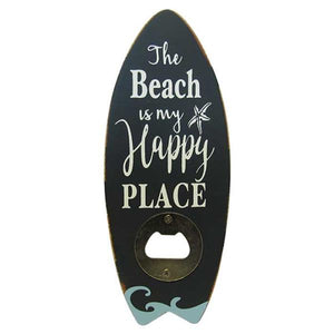 Surfboard bottle opener beach happy place