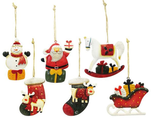 Christmas tin hangers set of 6