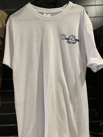 Body Beyond white shirt with blue chest logo