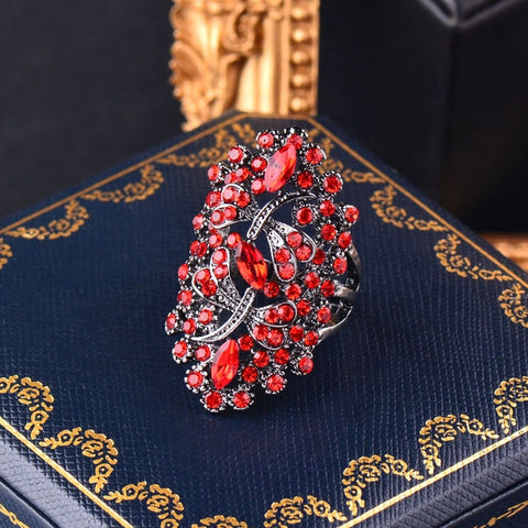 Blue and Ruby Rhinestone Dragonfly Rings
