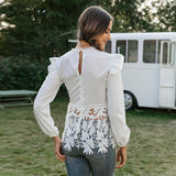 Elegant Floral Lace Embroidered Top