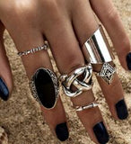 5pcs Rings Set with Black Crystal
