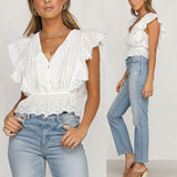Peplum and Ruffles Embroidered Blouse