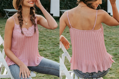 Lace Embroidered Blush Pink Cami