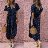Casual Polka Dot Button Dress