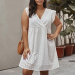 Plus Size Cotton Embroidered V-neck Short Sleeve Mini Dress