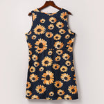 Sunflower V-Neck Sleeveless Zipper Pocket Mini Dress