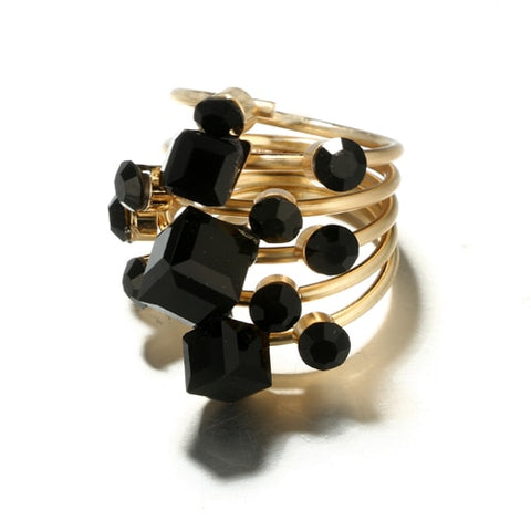 Antique Gold Black Rhinestone Rings