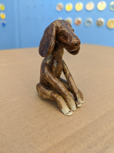 Dog Sculpture Brown Pensive