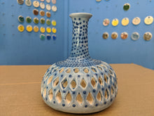 Load image into Gallery viewer, Small Porcelain Vase Double walled folk style