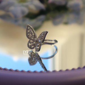 ADJUSTABLE SILVER CLASSIC BUTTERFLY RING