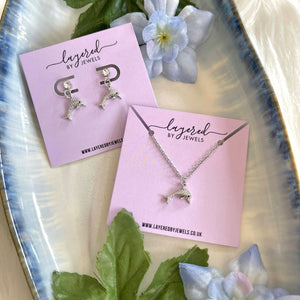 SILVER CRYSTAL DOLPHIN EARRINGS AND NECKLACE SET