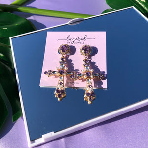 ICONIC AMETHYST PURPLE CROSS EARRINGS