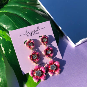 PINK FLOWER LONG EARRINGS