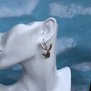 SILVER BUNNY HUGGIE HOOP EARRINGS