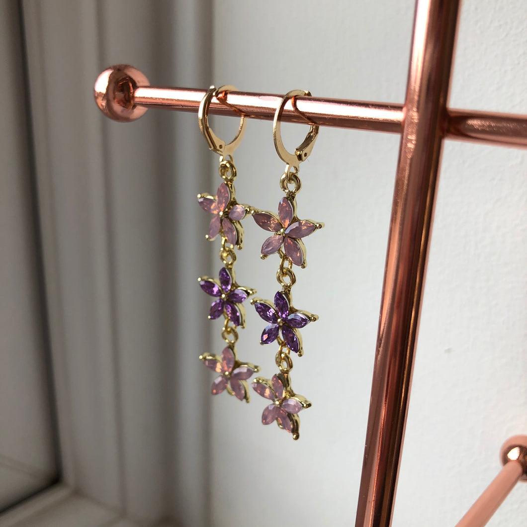 FLOWER POWER DANGLE HUGGIE HOOP EARRINGS