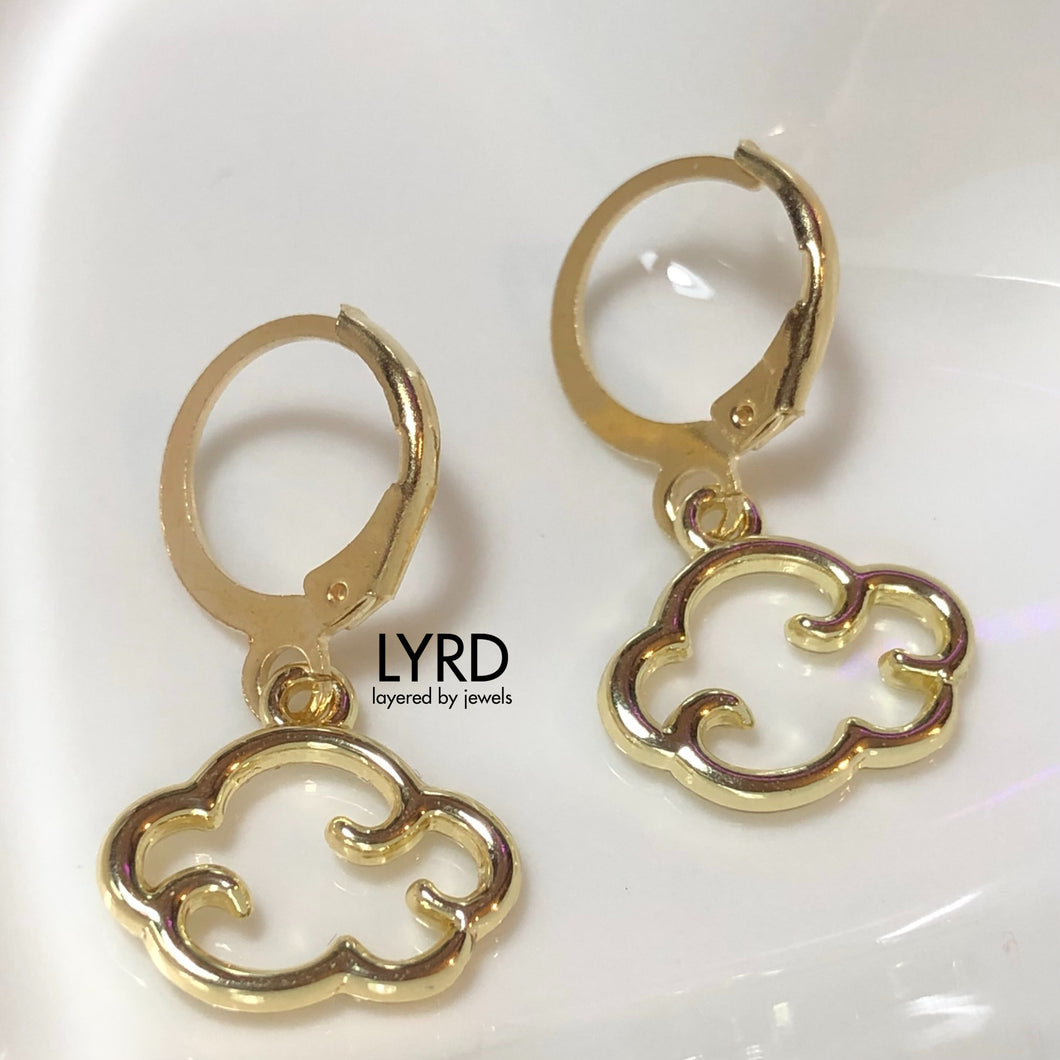 GOLD CLOUD HUGGIE HOOP EARRINGS