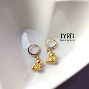 GOLD TEDDY HUGGIE HOOP EARRINGS