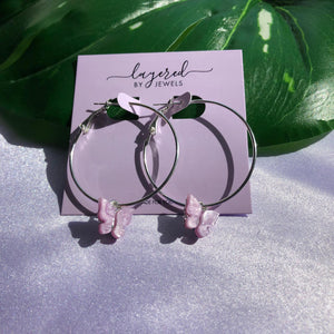 LILAC FLUTTER SILVER HOOP EARRINGS