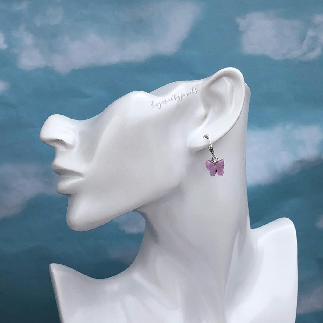 SILVER LILAC FLUTTER HUGGIE HOOP EARRINGS